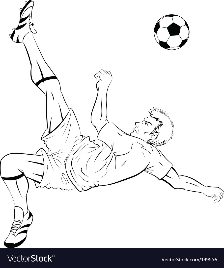 Soccer player line art vector | Price: 1 Credit (USD $1)