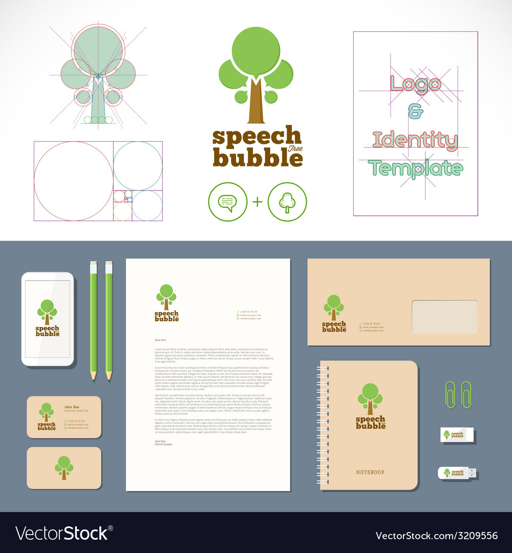 Speech bubble tree logo and identity template vector | Price: 1 Credit (USD $1)
