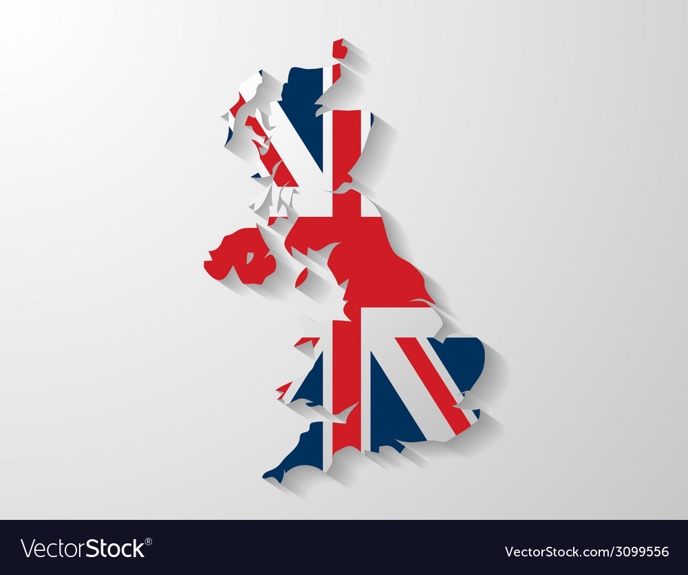 United kingdom map with shadow effect vector | Price: 1 Credit (USD $1)