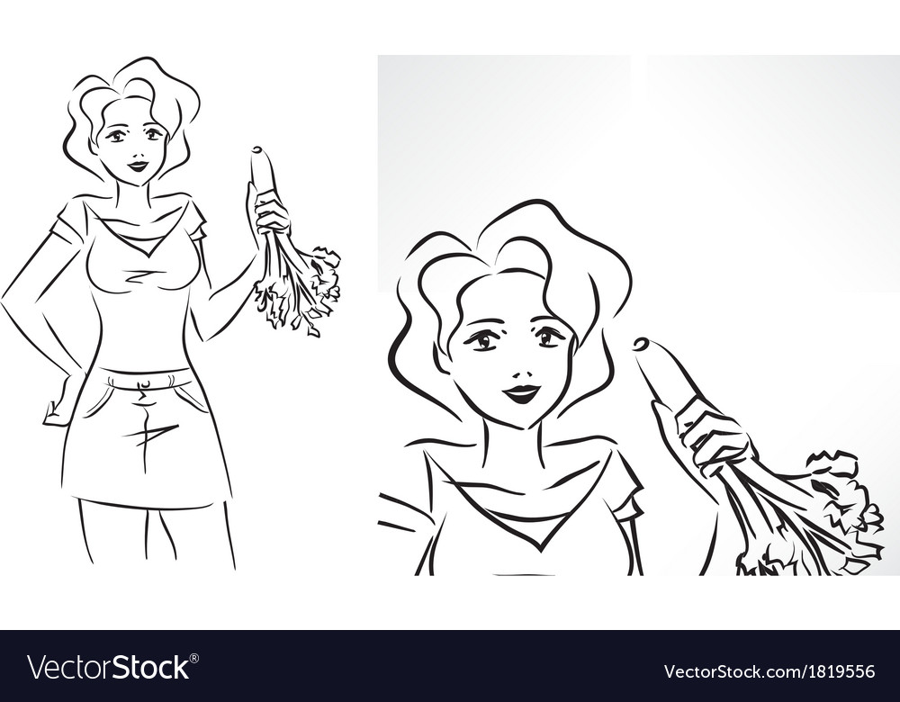 Woman with celery vector | Price: 1 Credit (USD $1)