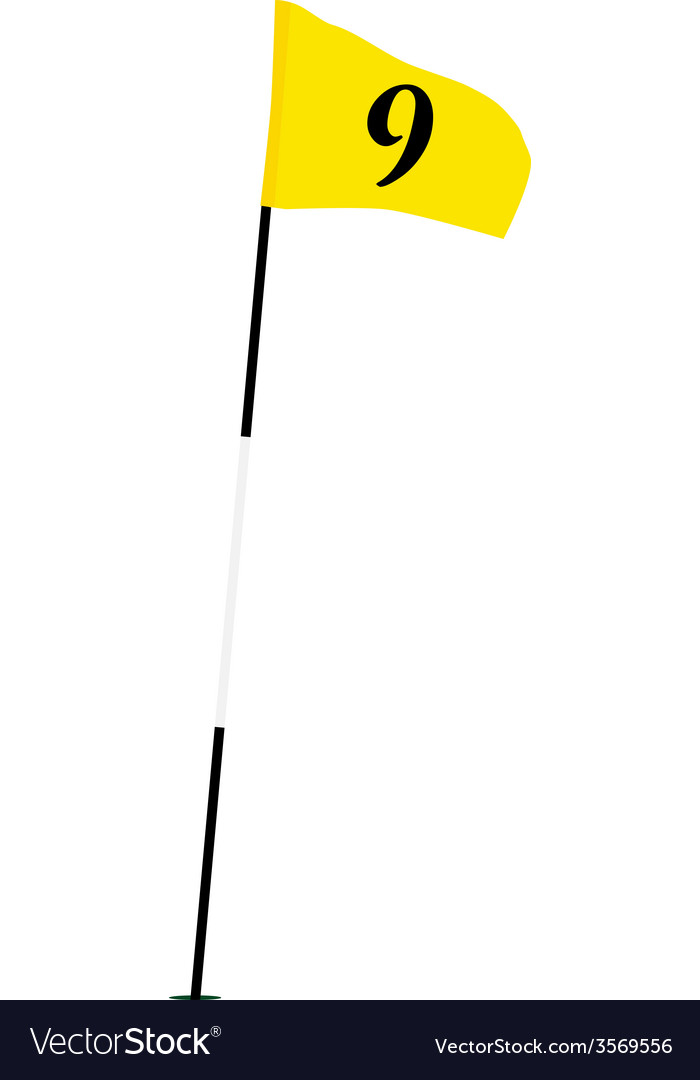 Yellow golf flag with number nine vector | Price: 1 Credit (USD $1)