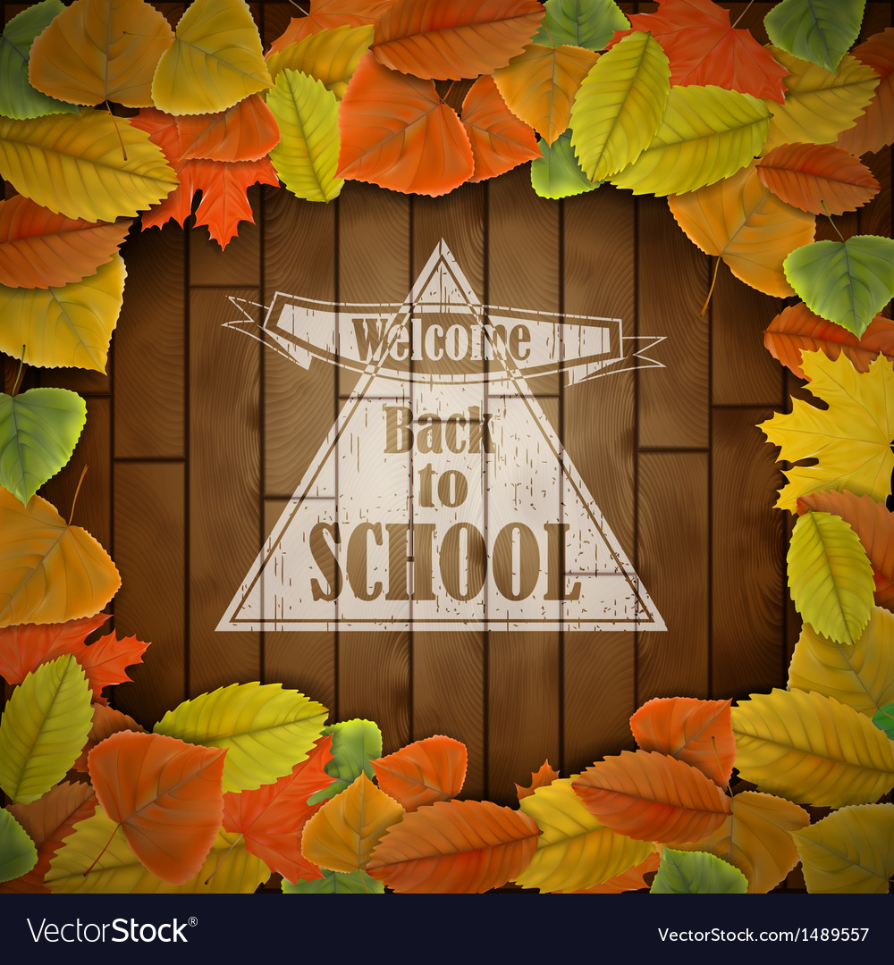 Back to school wood board with leaves vector | Price: 1 Credit (USD $1)