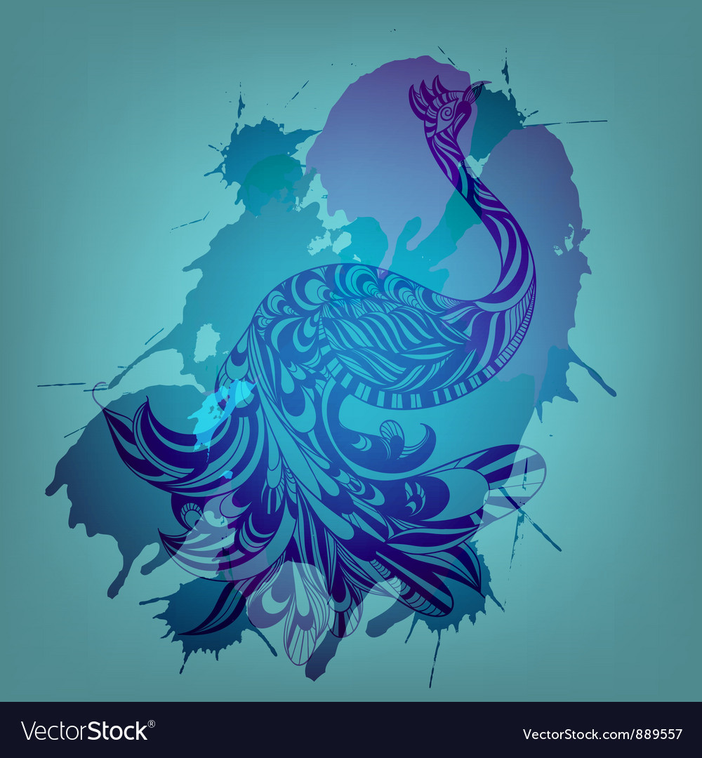 Blue peacock vector | Price: 1 Credit (USD $1)
