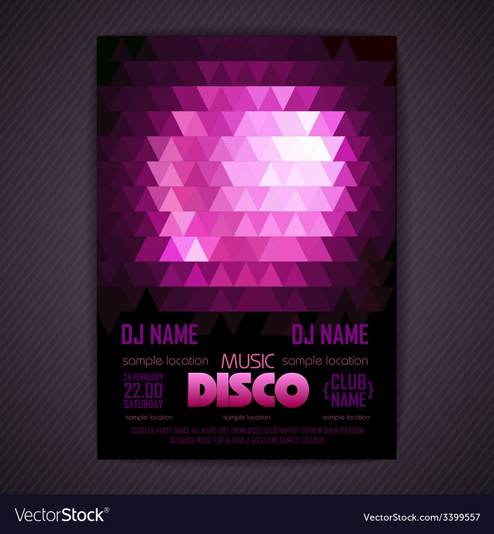Disco poster geometric triangle background vector | Price: 1 Credit (USD $1)