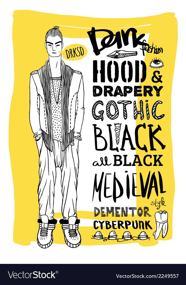 Doodle set dark fashion look vector   Price: 1 Credit (USD $1)