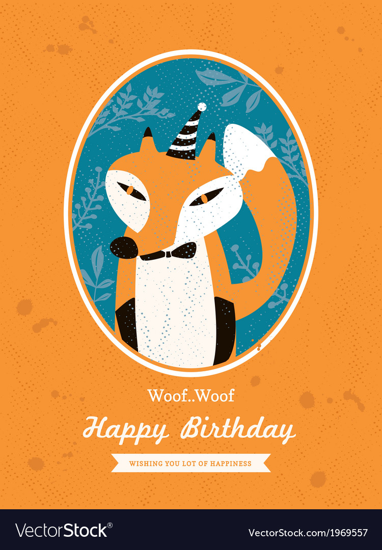 Fox animal cartoon birthday card design vector | Price: 1 Credit (USD $1)