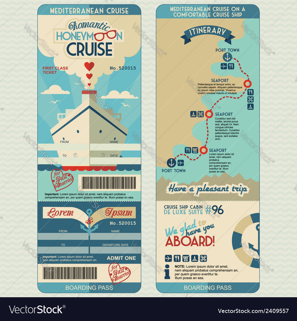 Honeymoon cruise boarding pass vector | Price: 1 Credit (USD $1)
