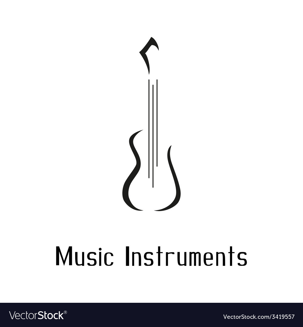 Musical instruments shop logo with guitar vector | Price: 1 Credit (USD $1)