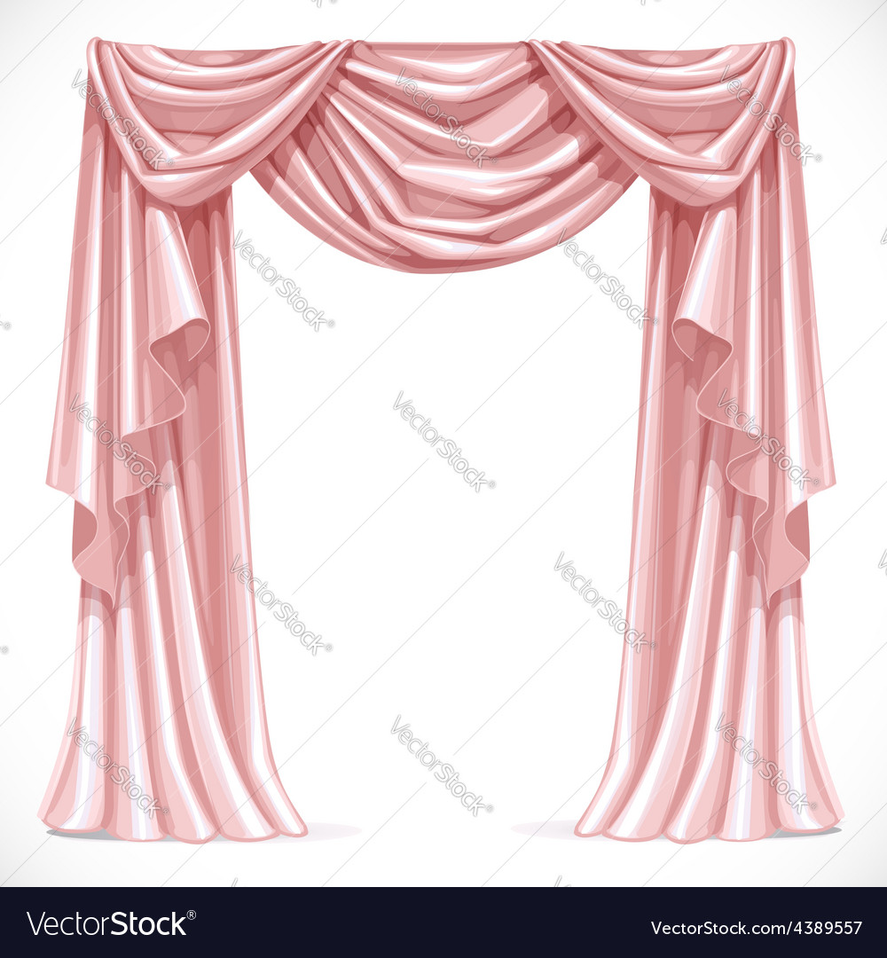 Pink curtain draped with pelmet isolated on a vector | Price: 3 Credit (USD $3)