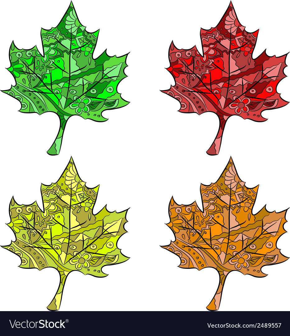 Set of maple leaves vector | Price: 1 Credit (USD $1)