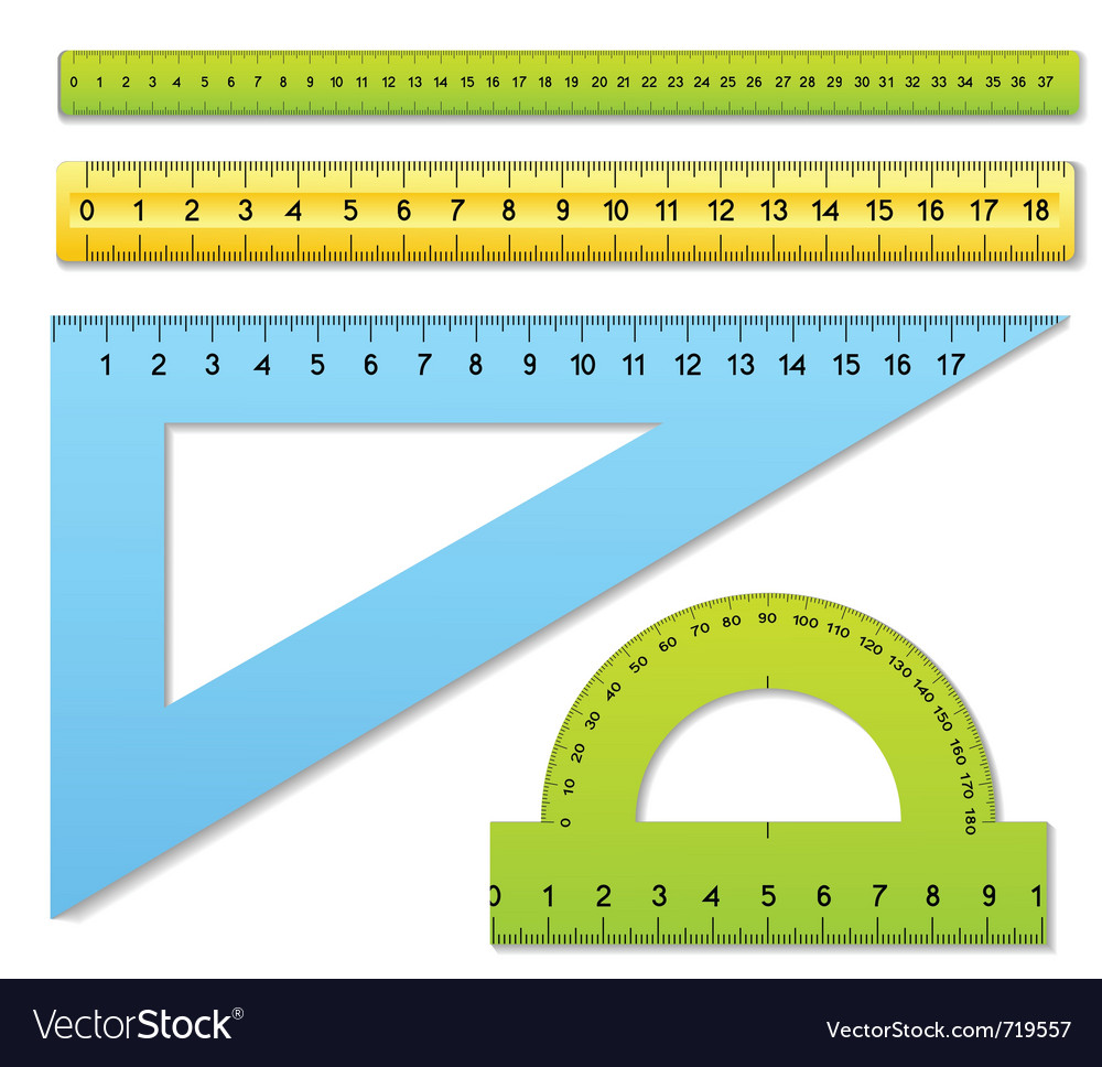 Three rulers and one protractor vector