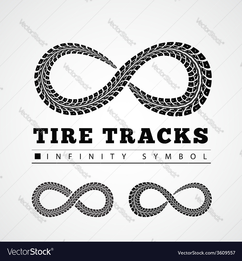 Tire tracks in infinity form vector