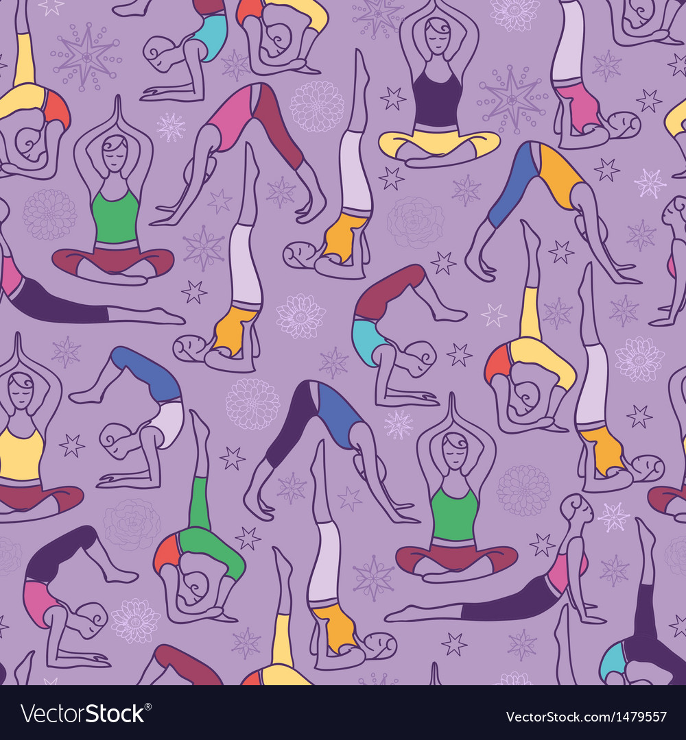 Yoga poses seamless pattern background vector | Price: 1 Credit (USD $1)