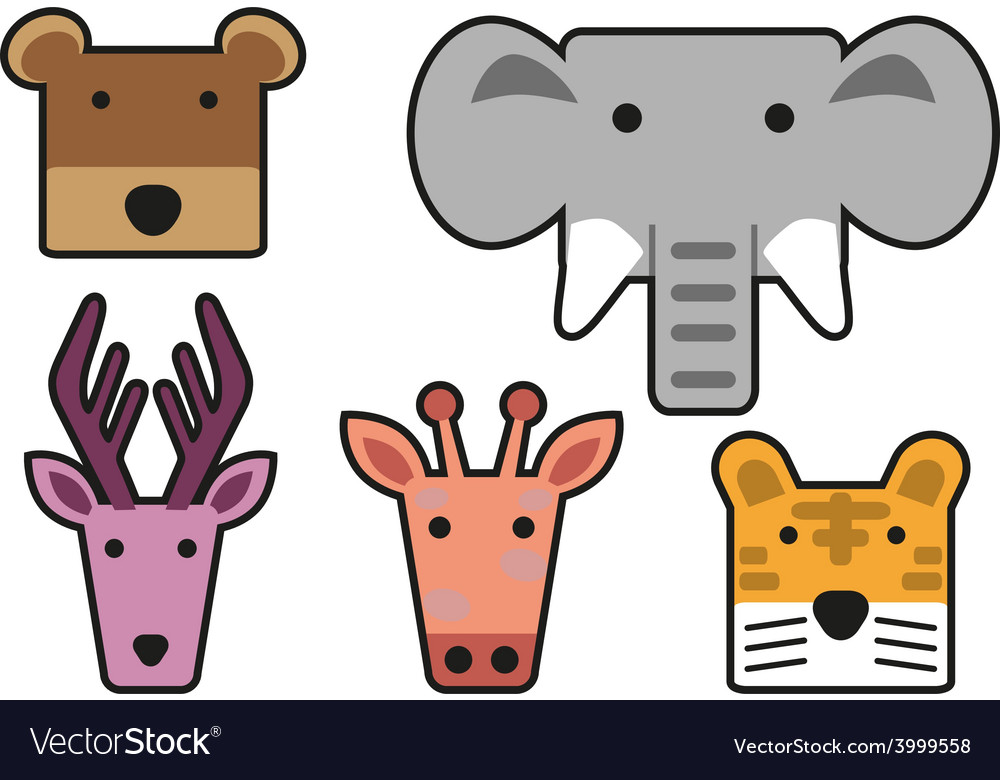 Animal head cartoon rectangle vector | Price: 1 Credit (USD $1)