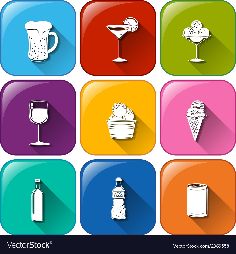 Buttons with refreshing drinks vector | Price: 1 Credit (USD $1)