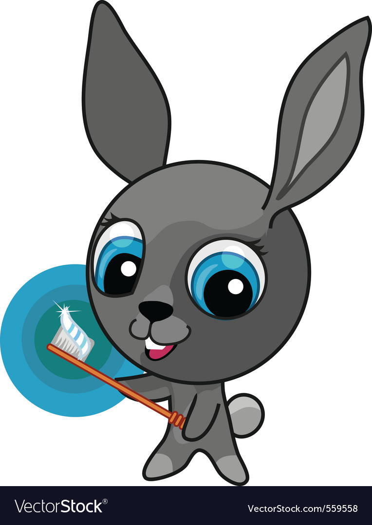 Funny cartoon bunny with toothbrush vector | Price: 1 Credit (USD $1)