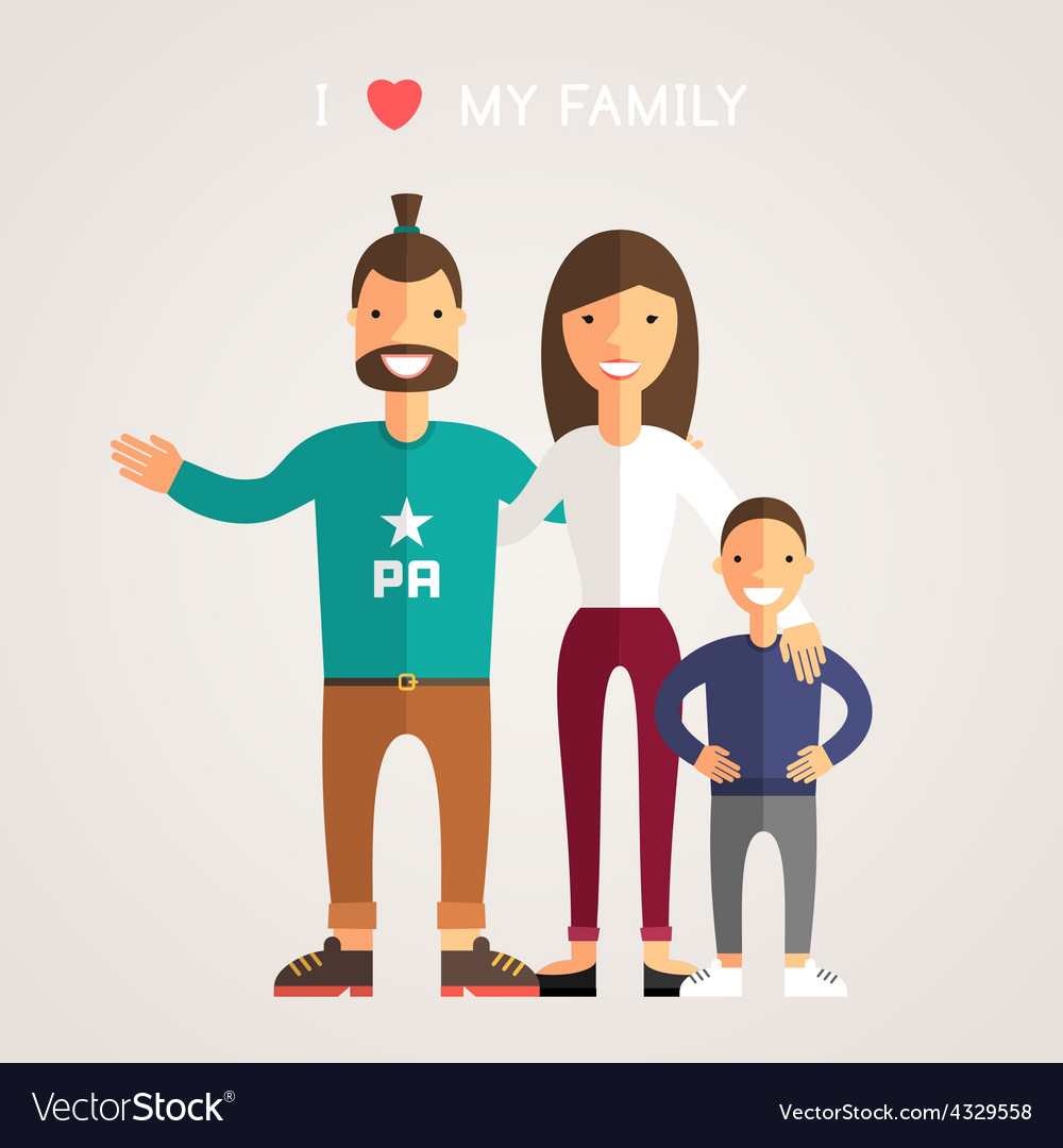 Happy family parents with son father mother son i vector | Price: 1 Credit (USD $1)