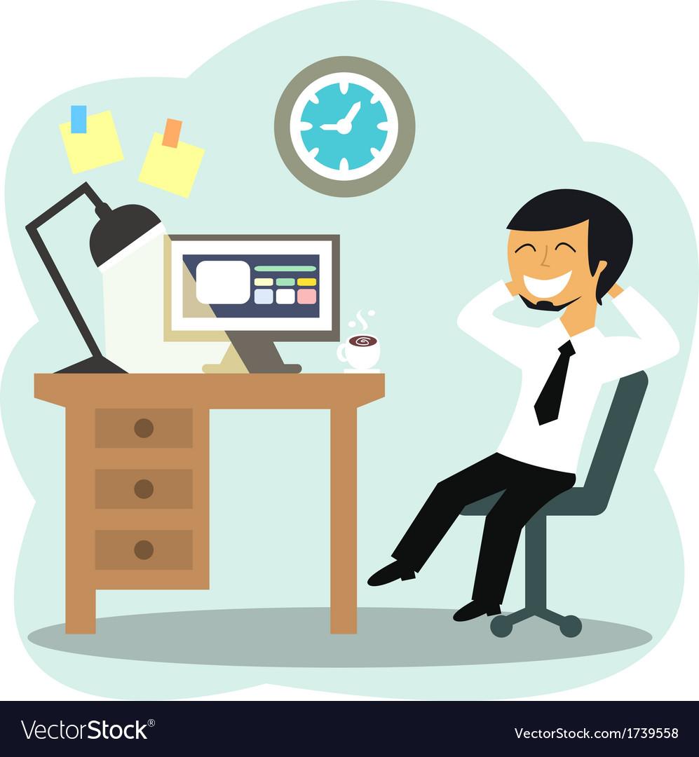 Happy office worker vector | Price: 1 Credit (USD $1)