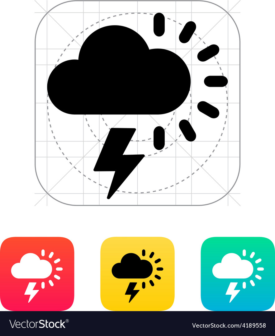 Lightning with sun weather icon vector | Price: 1 Credit (USD $1)