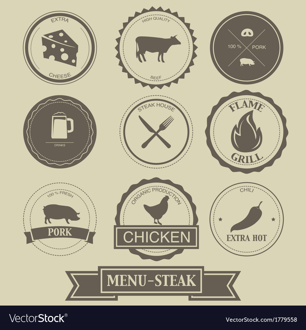 Menu steak label design vector | Price: 1 Credit (USD $1)