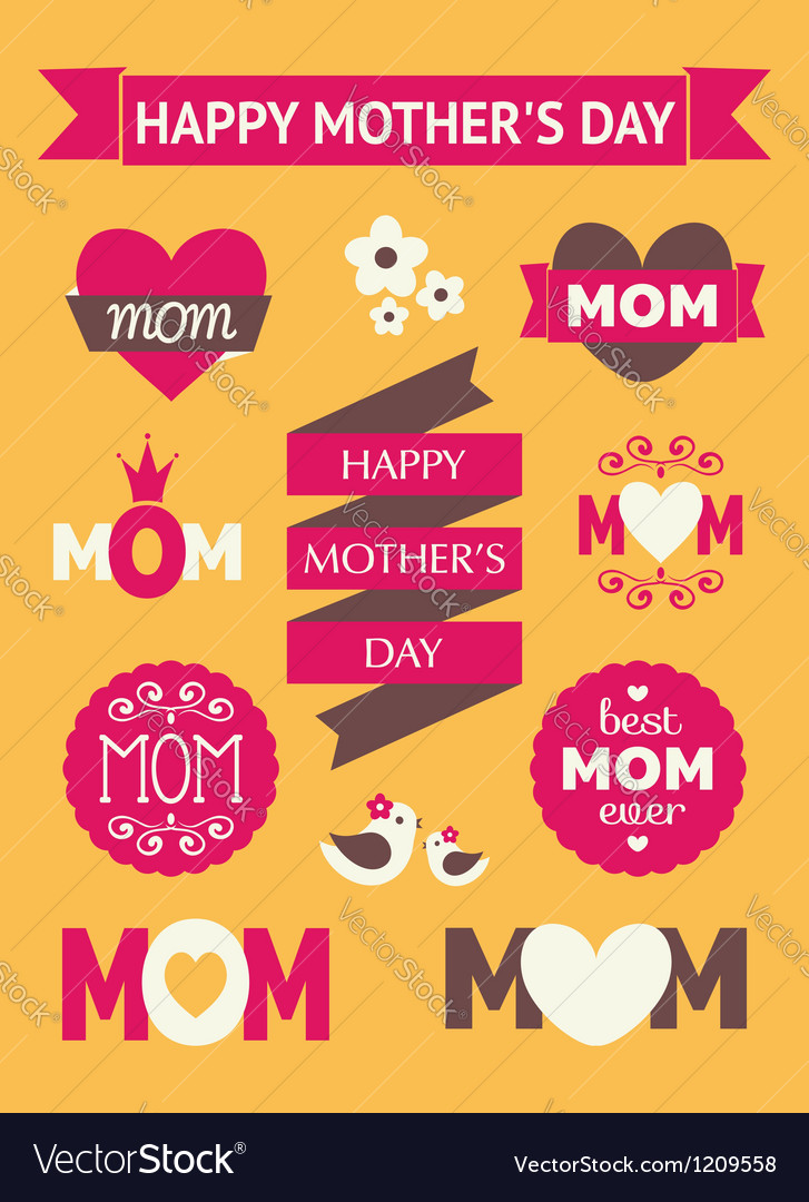 Mothers day design elements vector | Price: 3 Credit (USD $3)