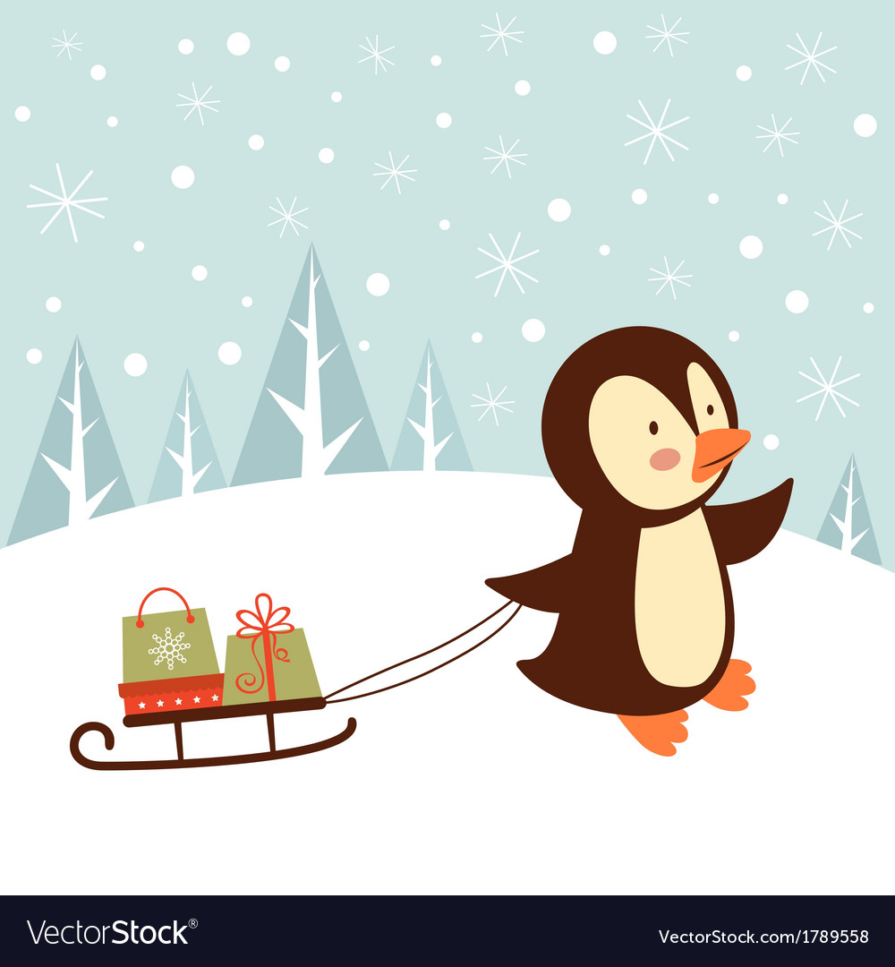 Penguin with gifts vector | Price: 1 Credit (USD $1)
