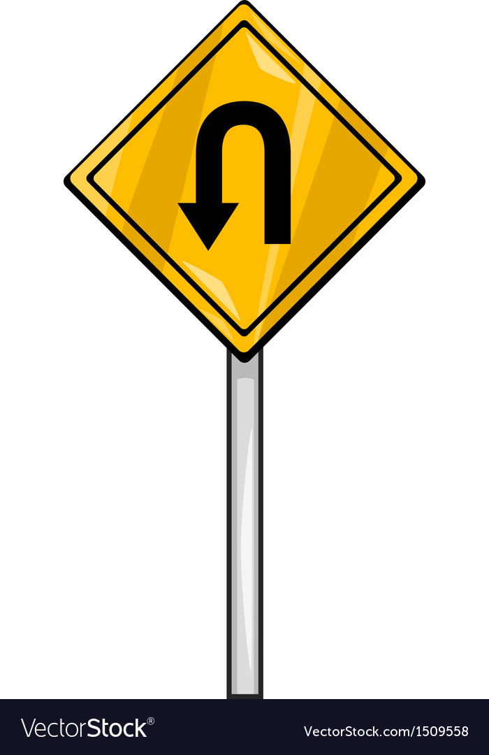 U turn sign clip art cartoon vector | Price: 1 Credit (USD $1)