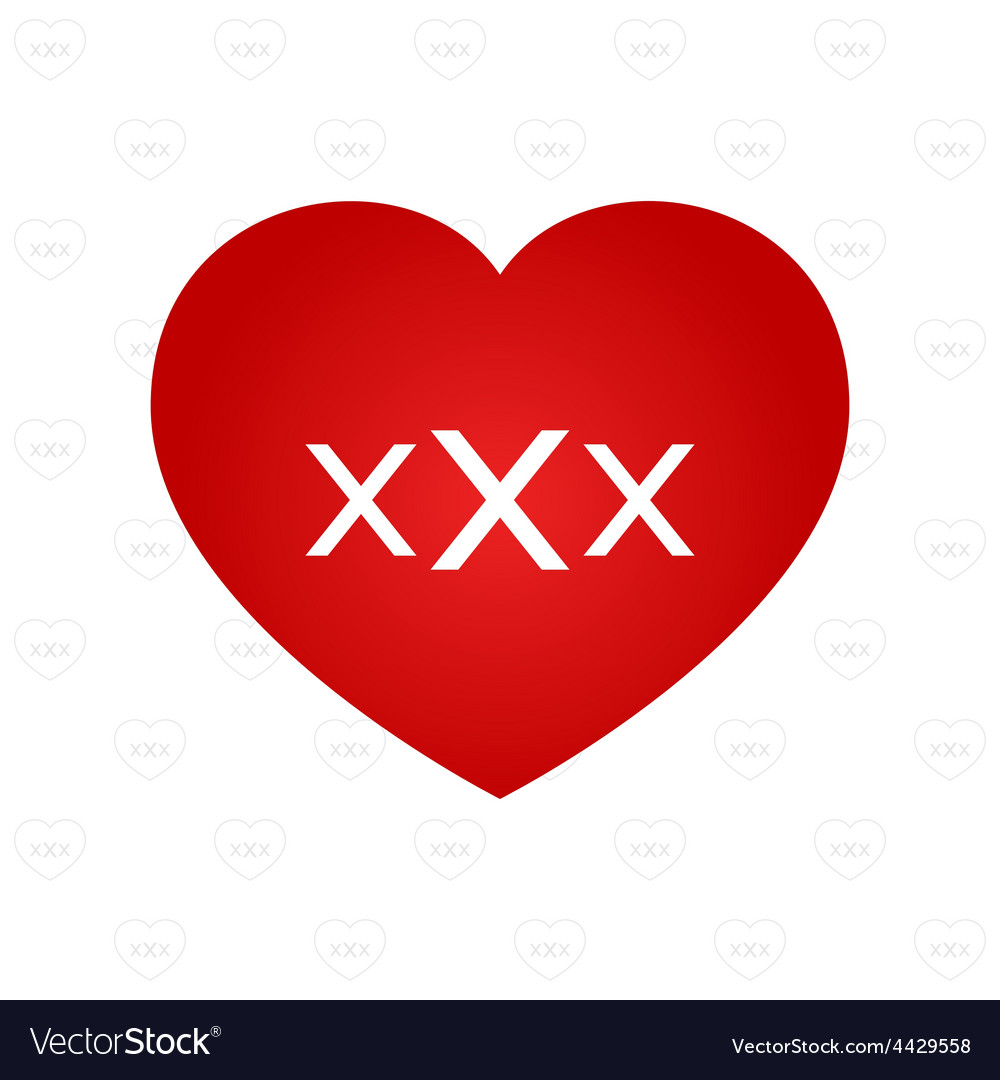 Xxx sign on heart vector | Price: 1 Credit (USD $1)