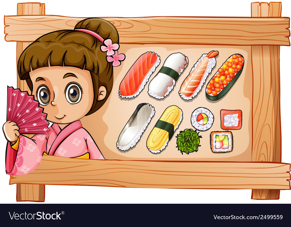 A frame with a girl and the different flavors of vector | Price: 1 Credit (USD $1)