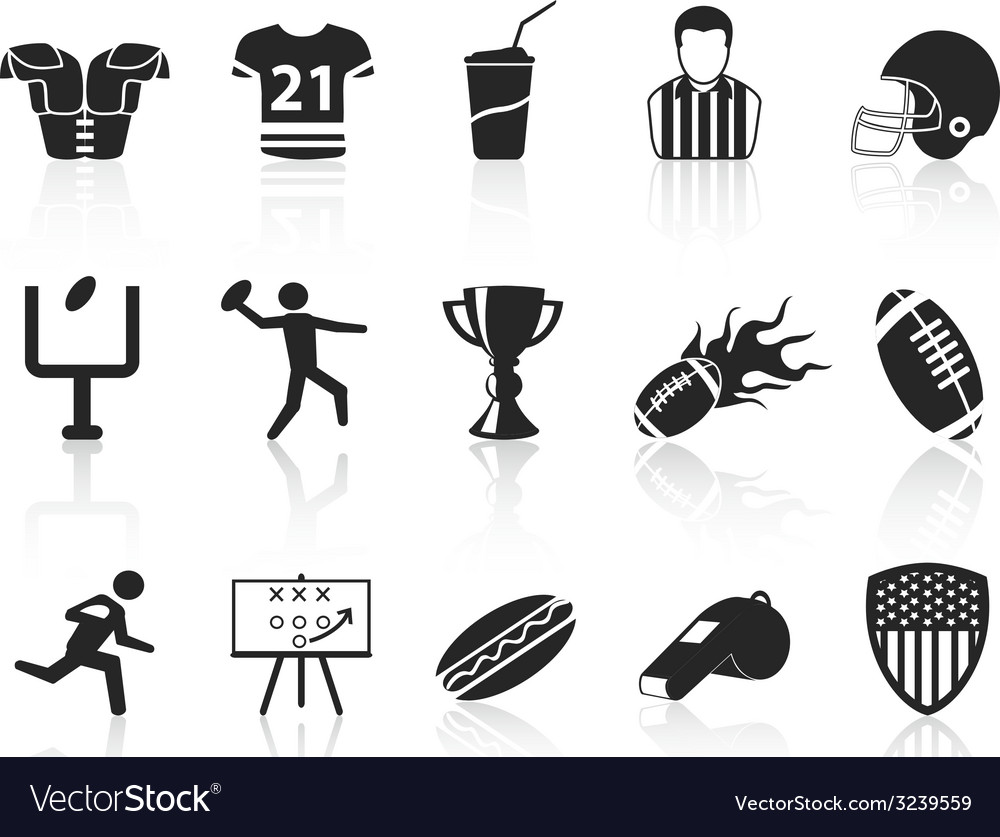 American football icons set vector | Price: 1 Credit (USD $1)
