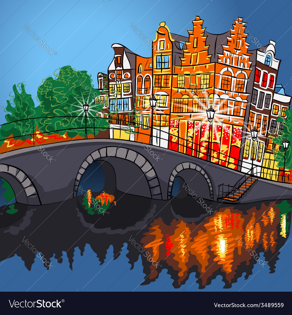 Amsterdam canal bridge and typical houses holland vector | Price: 1 Credit (USD $1)