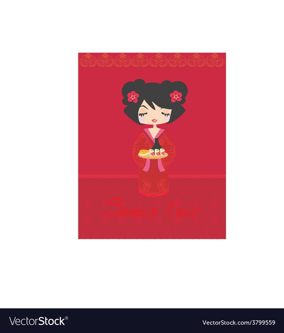 Beautiful asian girl enjoy sushi - menu template vector | Price: 1 Credit (USD $1)