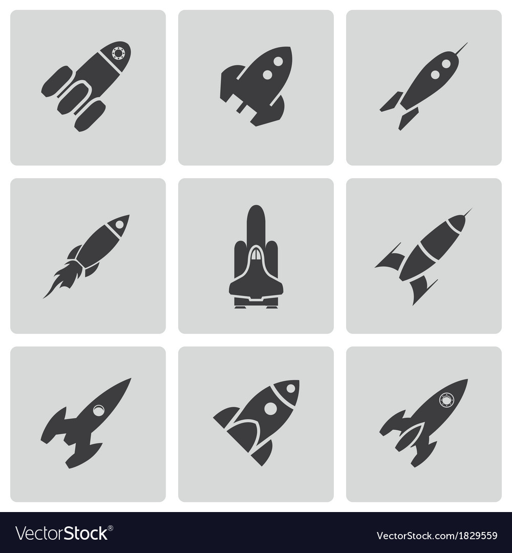 Black rocket icons set vector | Price: 1 Credit (USD $1)