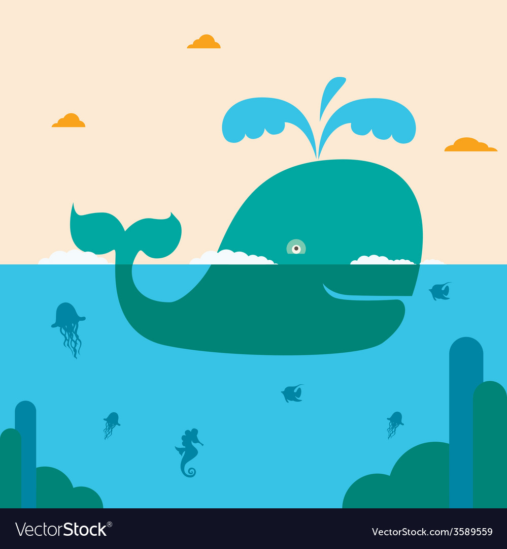 Blue whale and blue sea vector | Price: 1 Credit (USD $1)