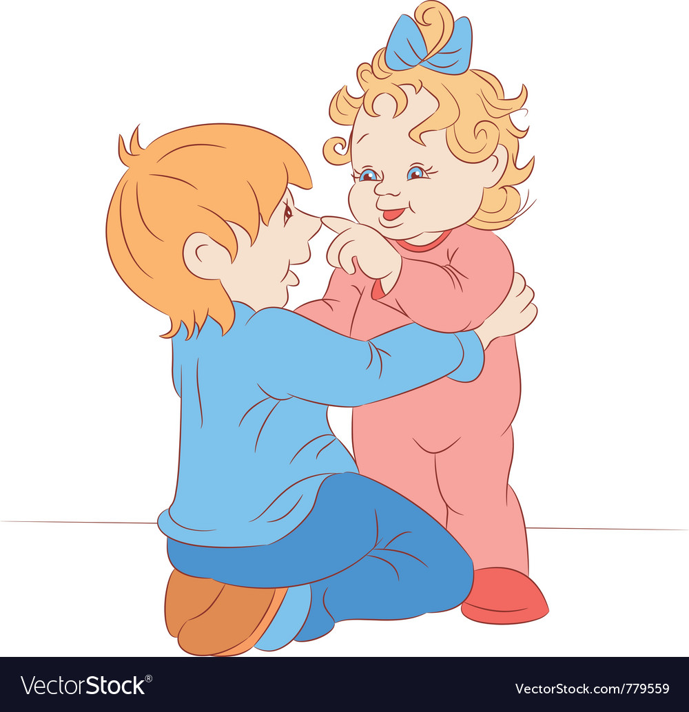 Brother plays with the little sister vector | Price: 3 Credit (USD $3)
