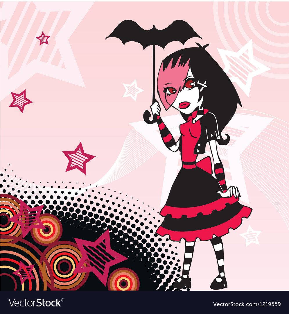 Colored cartoon emo goth girl with umbrella vector | Price: 3 Credit (USD $3)