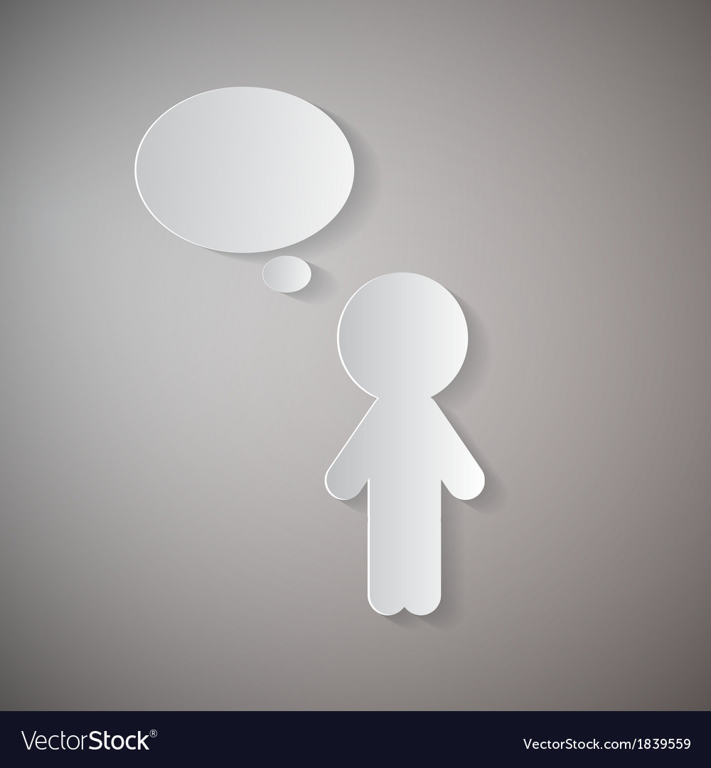 Cut paper man with empty speech bubble on grey vector   Price: 1 Credit (USD $1)