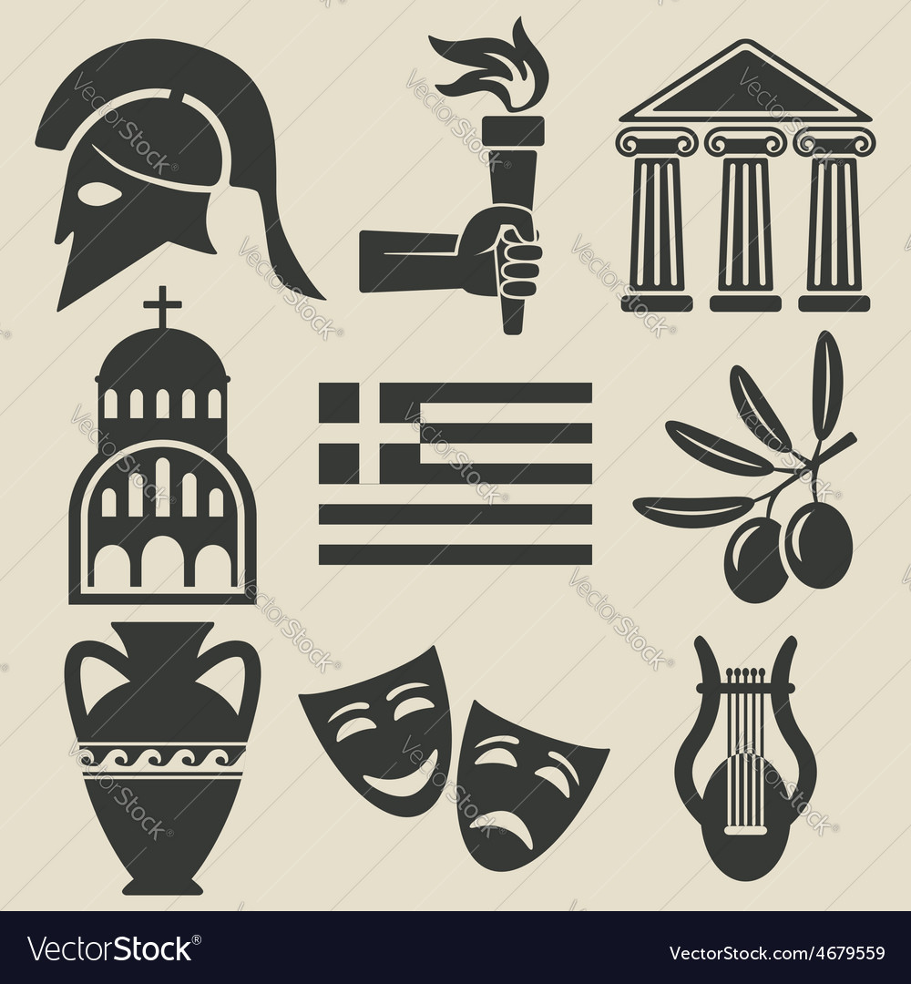 Greece symbol icons set vector | Price: 1 Credit (USD $1)