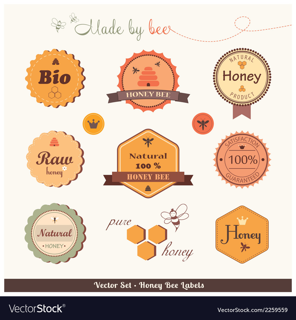 Honey bee labels vector | Price: 1 Credit (USD $1)
