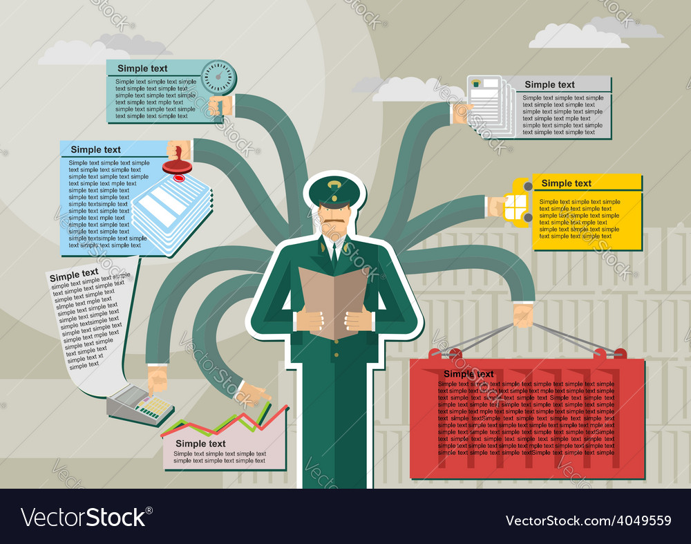 Russian customs service infographic kntejner weigh vector | Price: 1 Credit (USD $1)