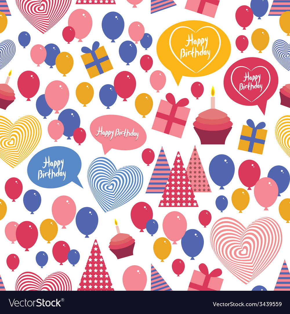 Seamless background - happy birthday heart gift vector | Price: 1 Credit (USD $1)