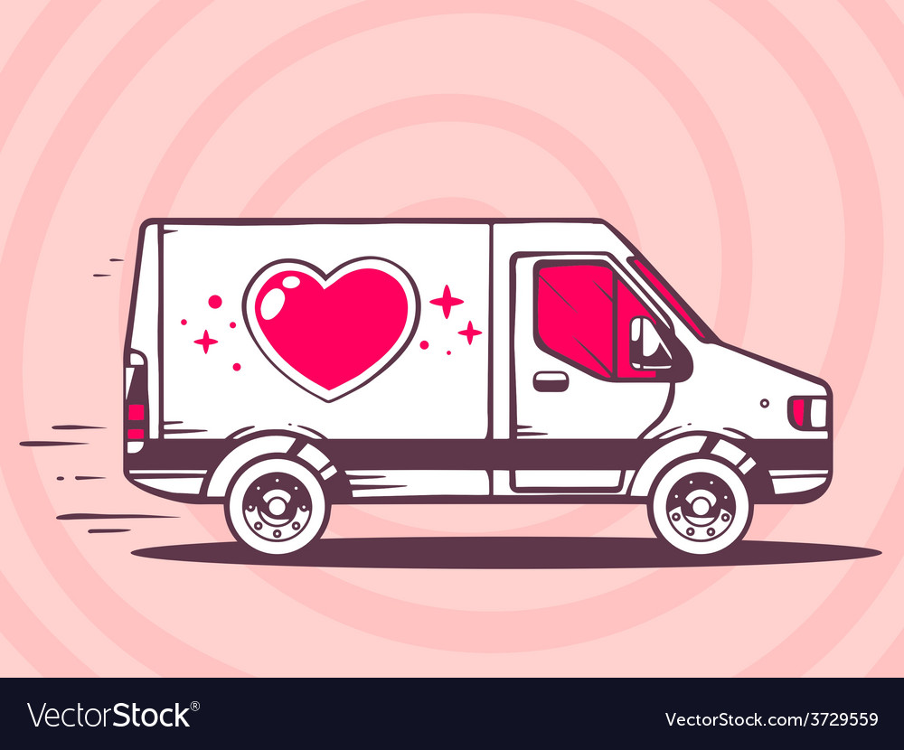Van with heart free and fast delivery to vector | Price: 1 Credit (USD $1)