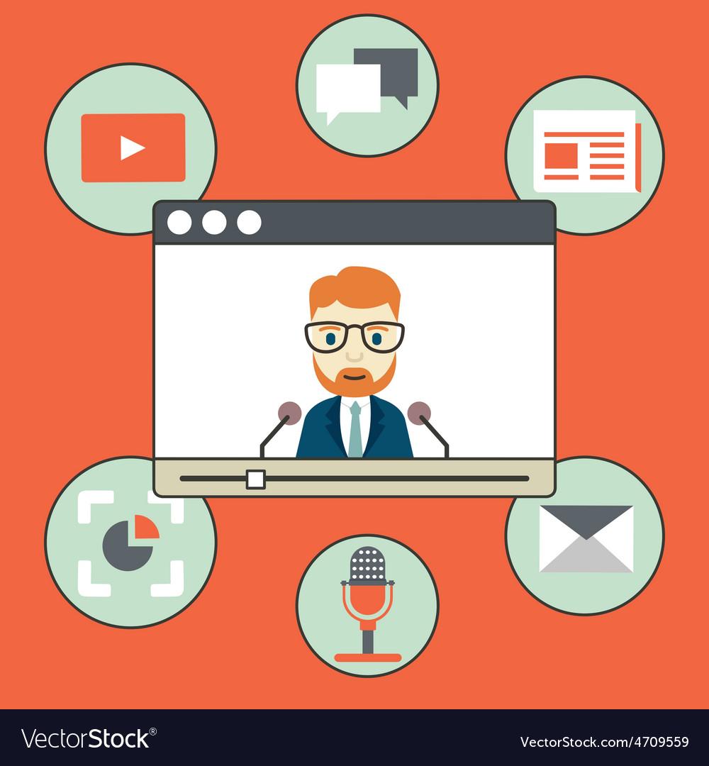 Webinar - kind of web conferencing holding online vector | Price: 1 Credit (USD $1)