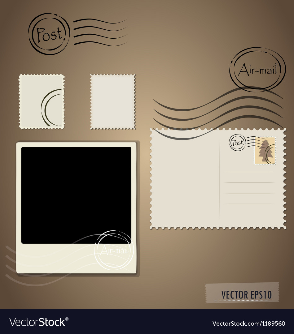 Blank grunge post stamps postcard and photo frame vector | Price: 1 Credit (USD $1)