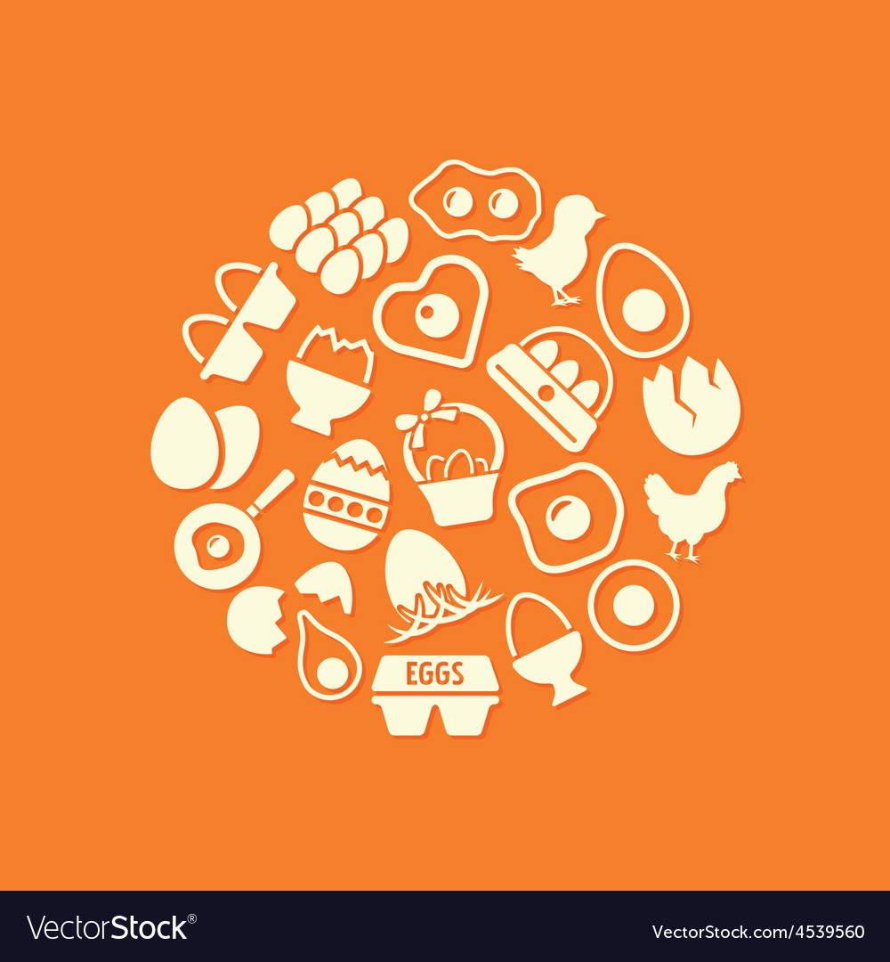 Egg icons in circle vector | Price: 1 Credit (USD $1)