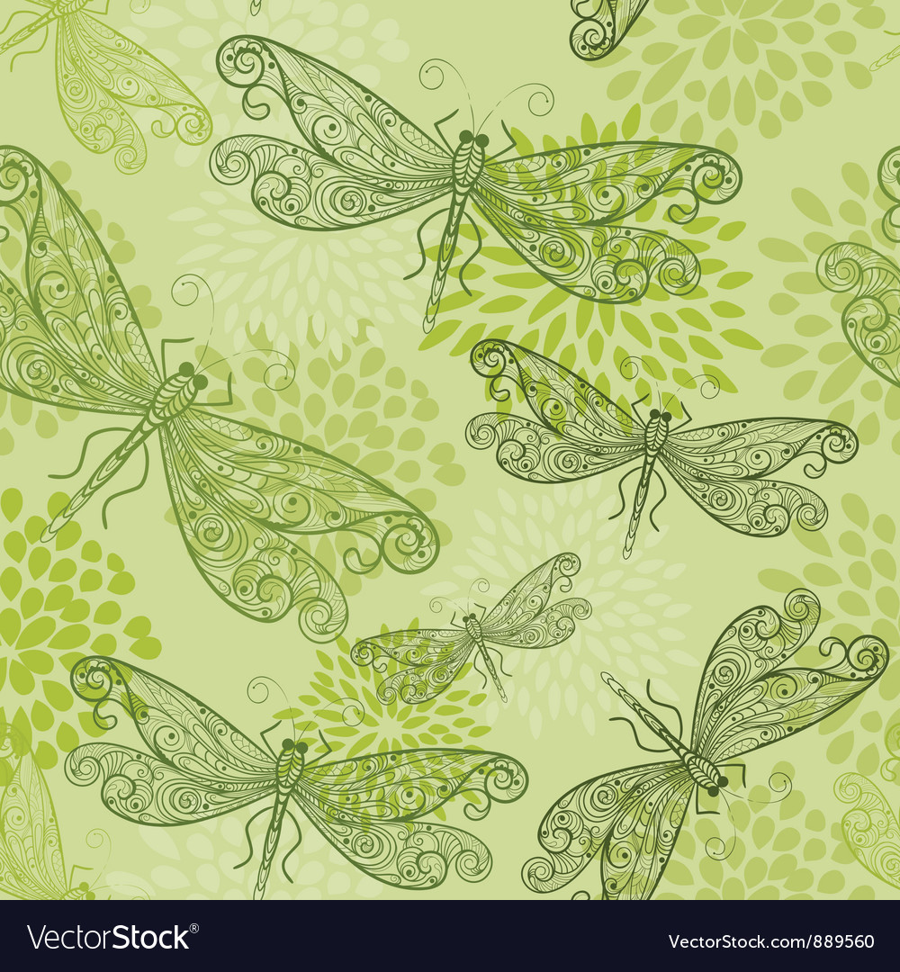 Flying green dragonflies vector | Price: 1 Credit (USD $1)