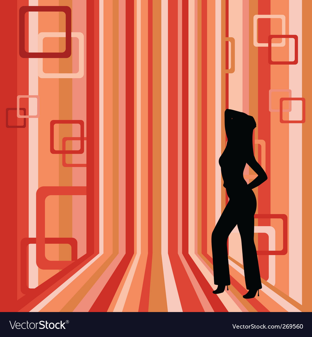 Girl on striped background vector