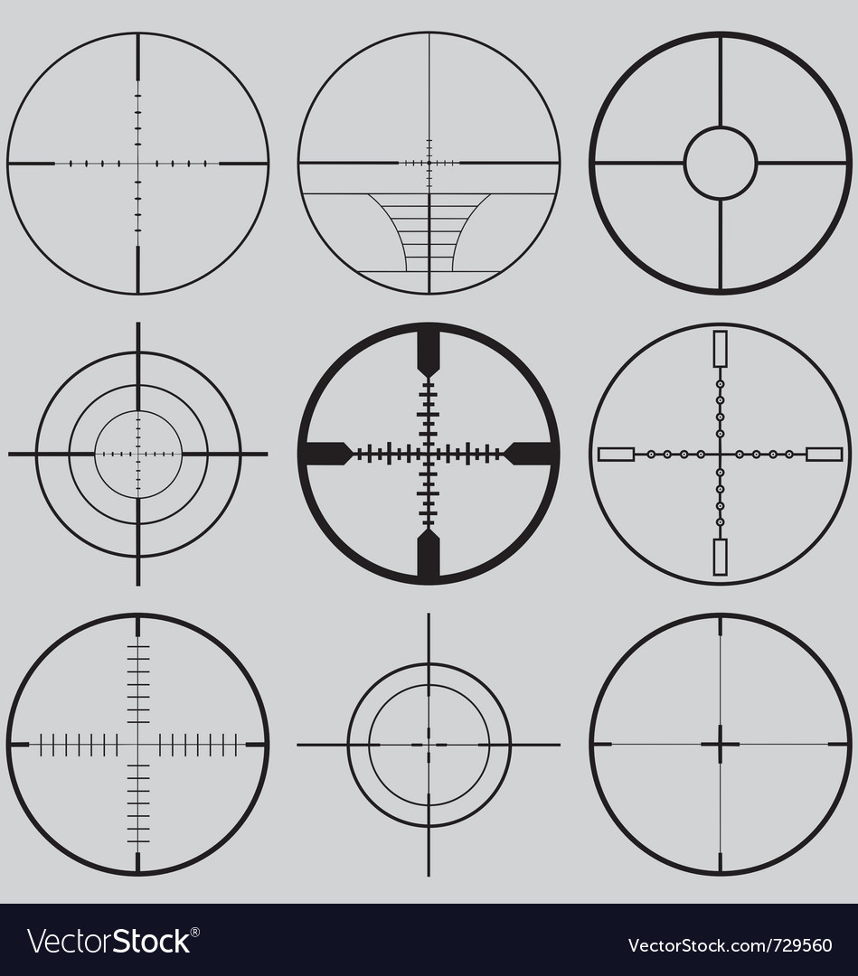 Gun crosshairs silhouettes vector | Price: 1 Credit (USD $1)