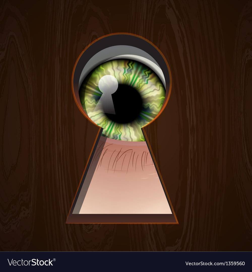 Interested eye looking in keyhole vector | Price: 1 Credit (USD $1)