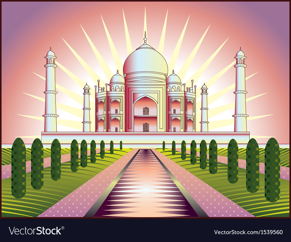 Landscape with taj mahal in india vector | Price: 3 Credit (USD $3)